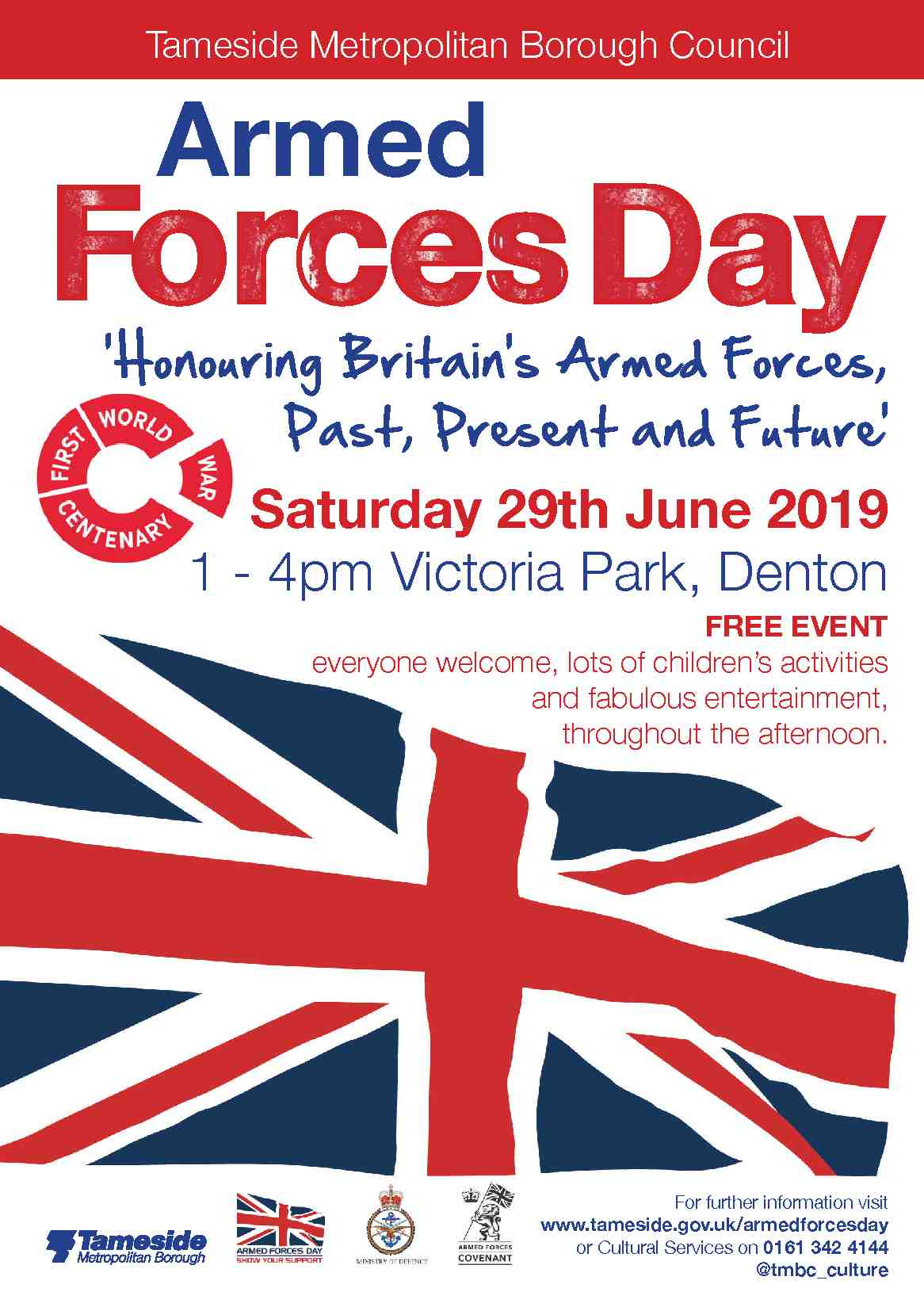 Armed Forces Day poster. Saturday 29th June 2019. 1 to 4pm Victoria Park Denton